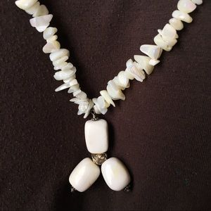 Vintage sterling mother of pearl/stone necklace